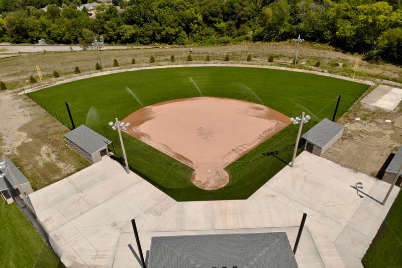 Aerial vew of a completed baseball field