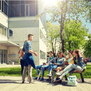 students outside school yard