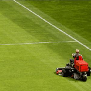 mowing soccer field